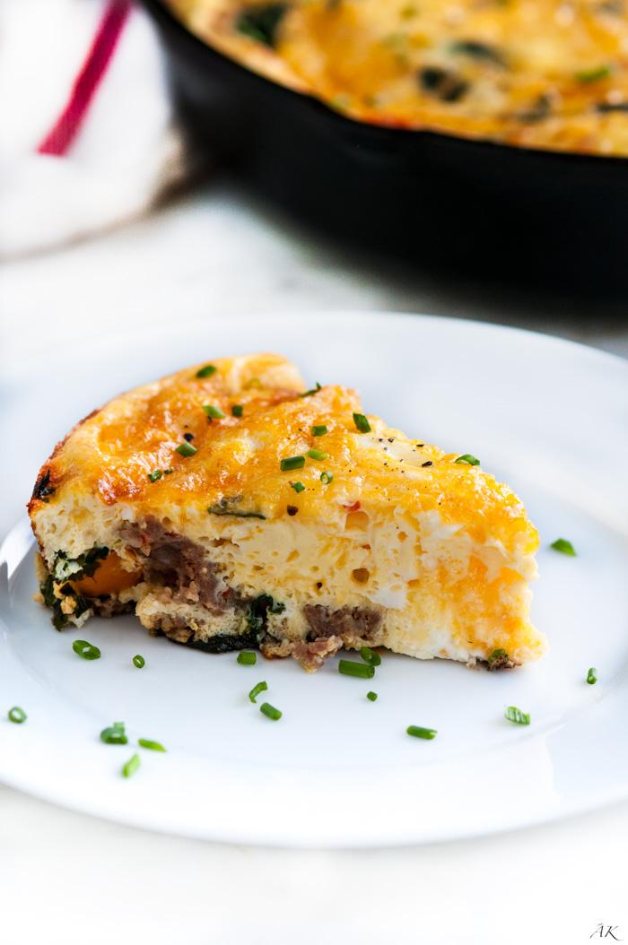 Sausage Spinach and Cheese Frittata - Aberdeen's Kitchen