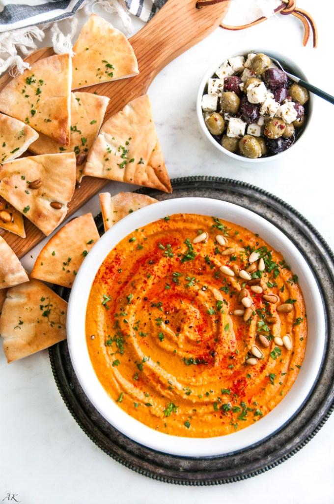 Roasted Red Bell Pepper Hummus | aberdeenskitchen.com