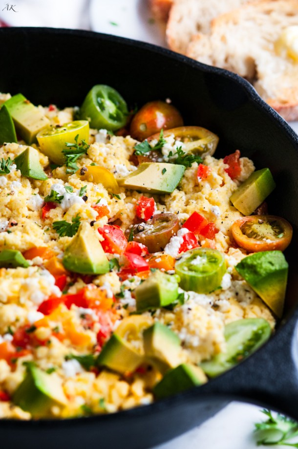 Goat Cheese and Veggie Egg Scramble | aberdeenskitchen.com