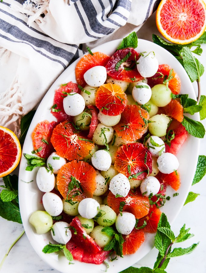 Winter Citrus Melon Caprese Salad
