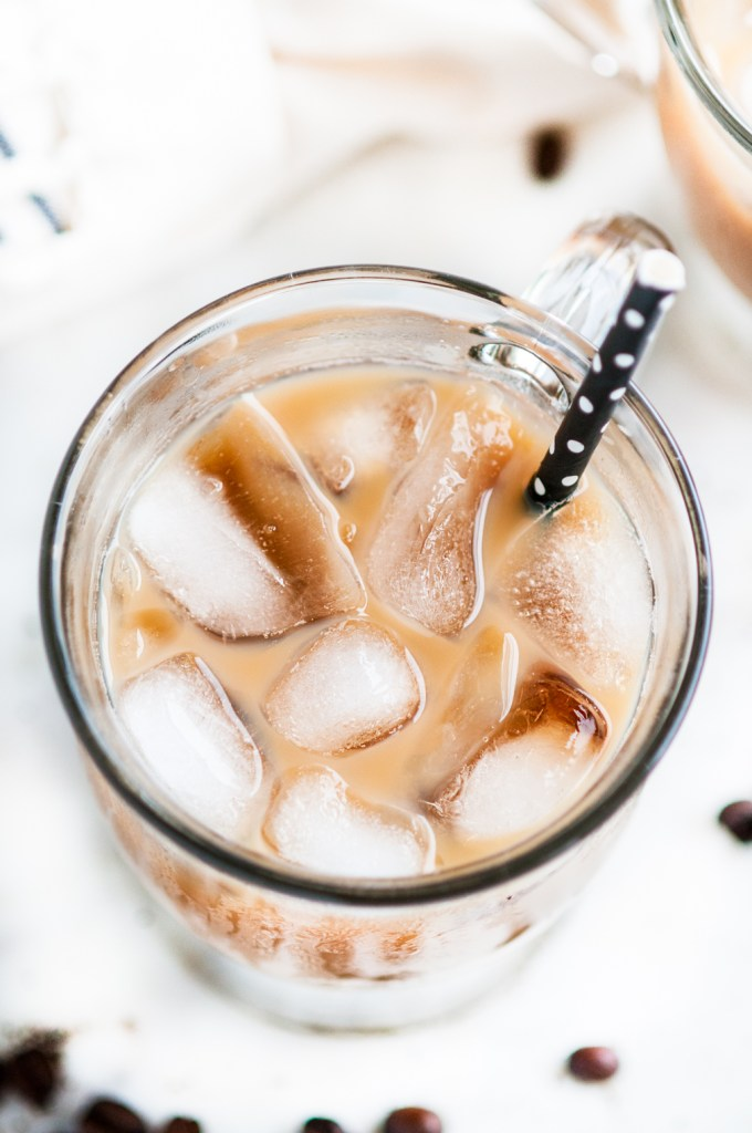Iced Vanilla Latte with Homemade Syrup | aberdeenskitchen.com