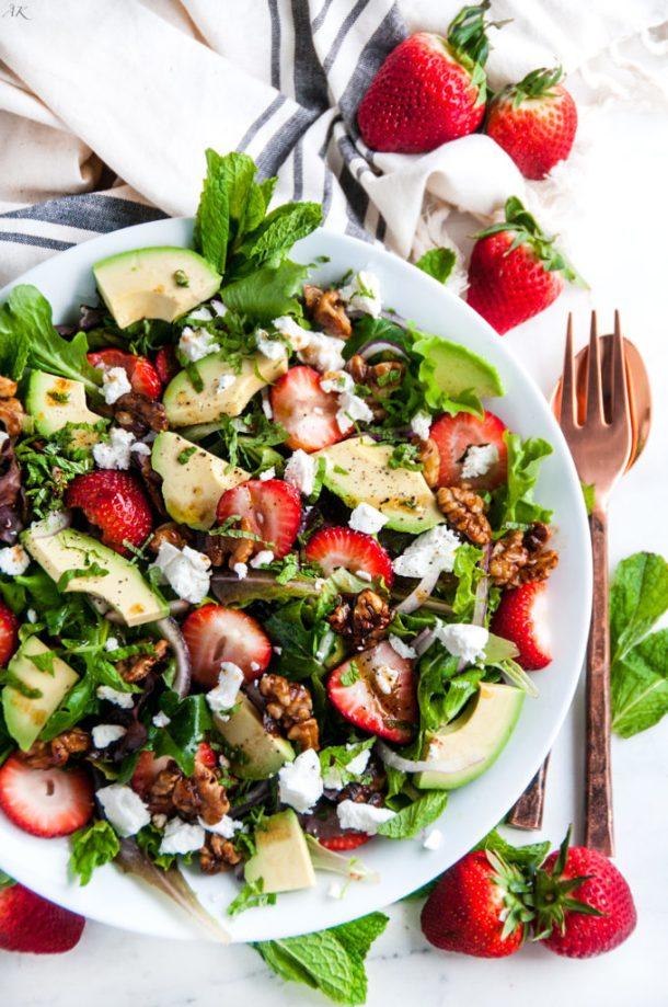 Strawberry Mint Avocado Salad | aberdeenskitchen.com