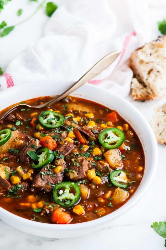 Instant Pot Spicy Beef Stew | aberdeenskitchen.com