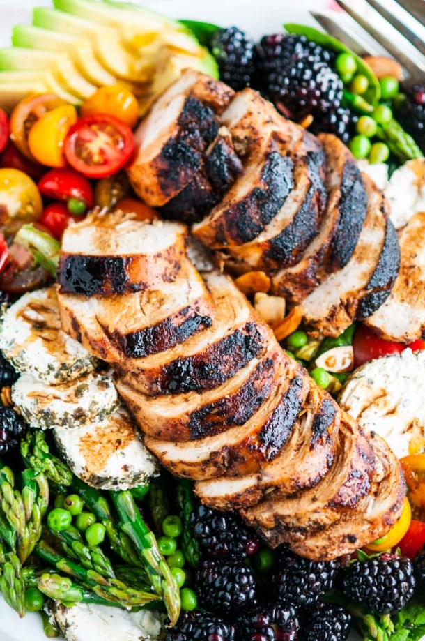 Spring Chicken Asparagus Pea Salad | aberdeenskitchen.com