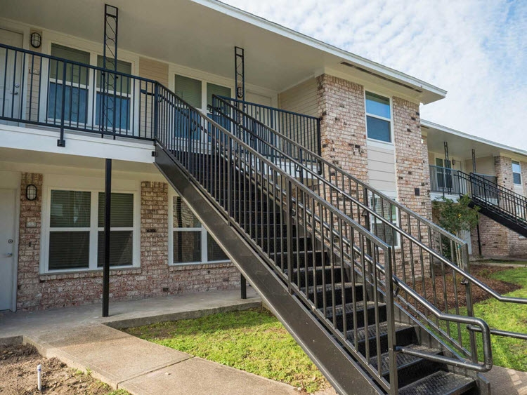 Metal Exterior Apartment Stair Installation Fire Escape Stairs | Prefabricated Exterior Metal Stairs | Stair Case | Spiral Staircases | Stairways | Stair Systems | Wrought Iron