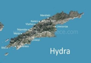 map of Hydra, Saronic Gulf, Greece