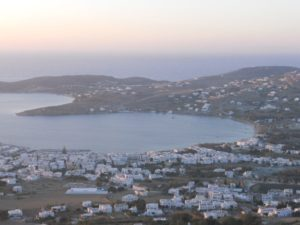 The bay of Paroikia on Paros island in Greece