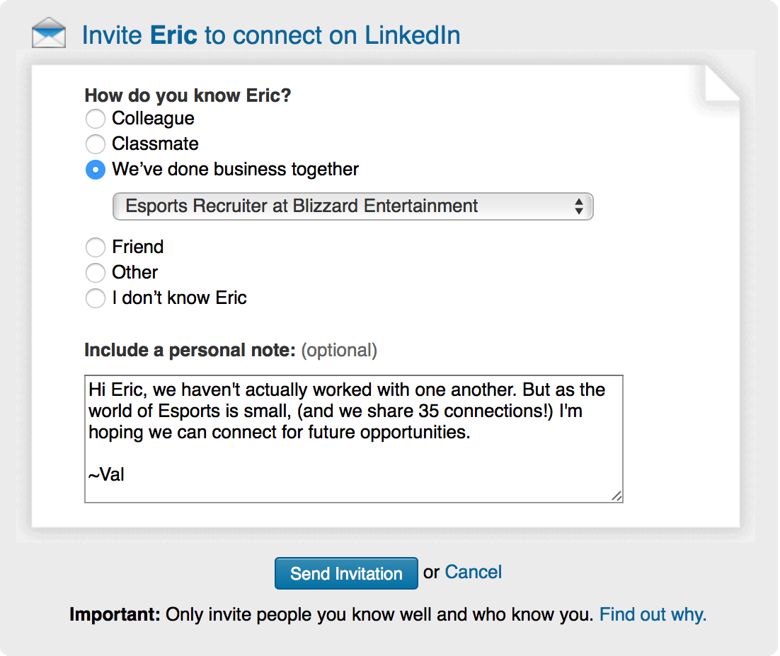 LinkedIn Connection Example A Better Interview