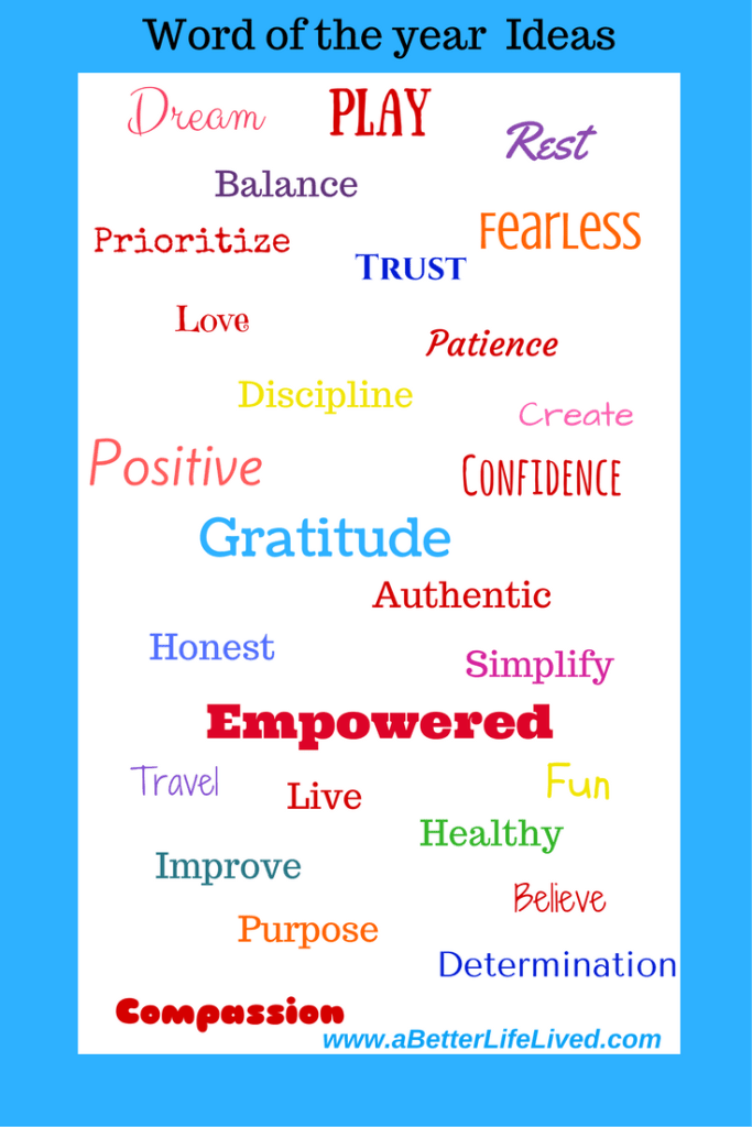 Word of the Year list of options. Choose a word of the year to help you reach your goals. Find out how!