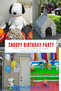 Awesome, realistic tips and advise on throwing a Snoopy birthday party without spending tons of money. Party throwing without the overwhelm!