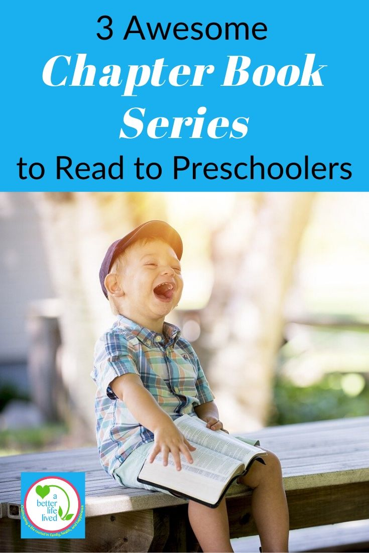 "Young boy with book, laughing with text overlay ""3 Awesome Chapter Book Series to Read to Preschoolers"""