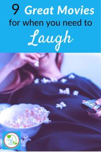 "Woman laughing, eating popcorn with remote control and text overlay ""9 great movies for when you need to laugh"""