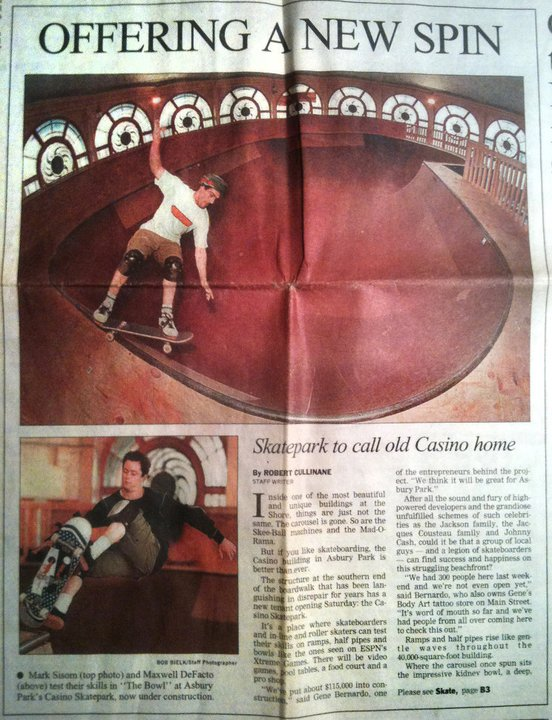 Mark Skating at Casino Skatepark, featured in the Asbury Park Press.