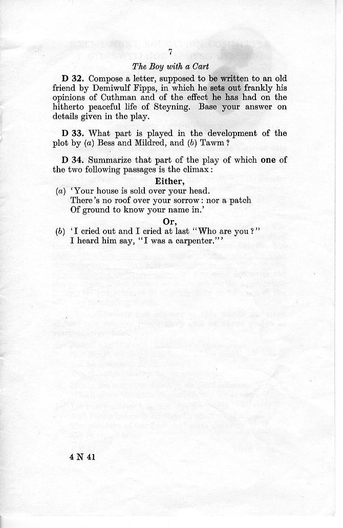 Aberdare Boys Grammar School: GCE O-level Papers, 1959