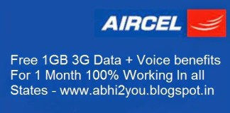 Aircel Free  GB G Data abhiyou