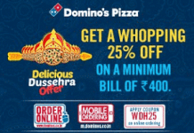 dominos  percent off