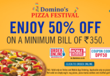 dominos  off on pizzas  cashback loot