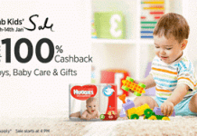 Fab kids sale  percent cashback offer