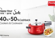 Paytm happy hour sale  per  cb on cookers cookwares