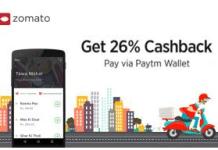 Zomato  cb offer paytm cashback