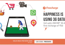 freecharge  mb data free new user loot offer