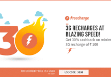 freecharge G  cashback on g data recharges