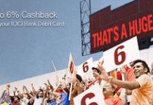 icici bank upto  cashback on transactions offer