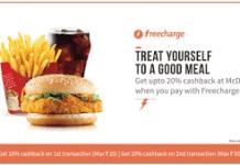 freecharge mcdonalds loot offer  cashback on orders