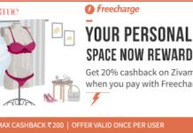 freecharge get  cashback at zivame shopping