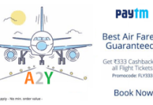 paytm flight tickets  cashback