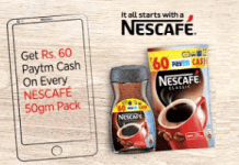 nescafe paytm offer free paytm cash on coffee