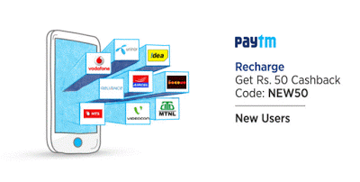 Paytm Free Rs 55 Recharge: 100% Cashback on 1st Recharge