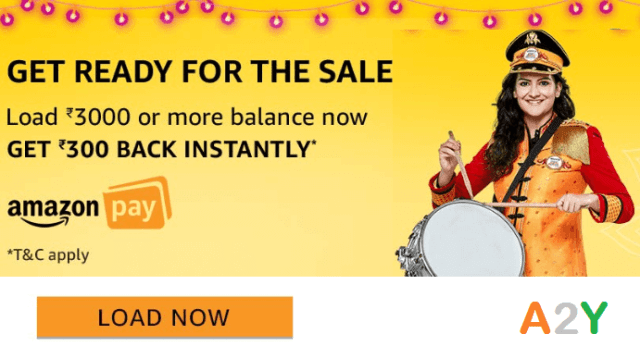 Get ₹300 Instant Cashback on Loading ₹3000 in Amazon Pay Balance