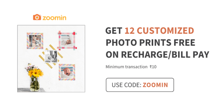 Zoomin Free 12 Customized Photo Prints: