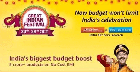 Amazon Great Indian Festival Sale October 2018 is Back
