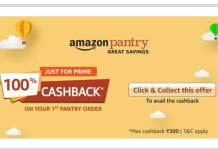 Amazon Pantry 100% Cashback