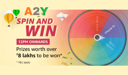 Amazon Spin And Win Prizes Worth Over 8 Lakh Live A2y