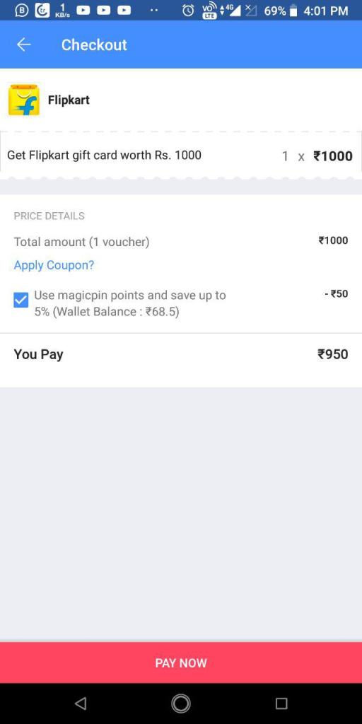 MagicPin App Amazon Giftcard