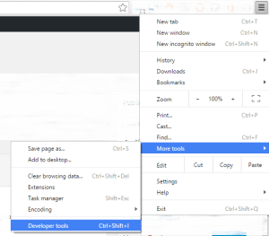 a picture showing how to open Developer Tools in Chrome form hambuger menu