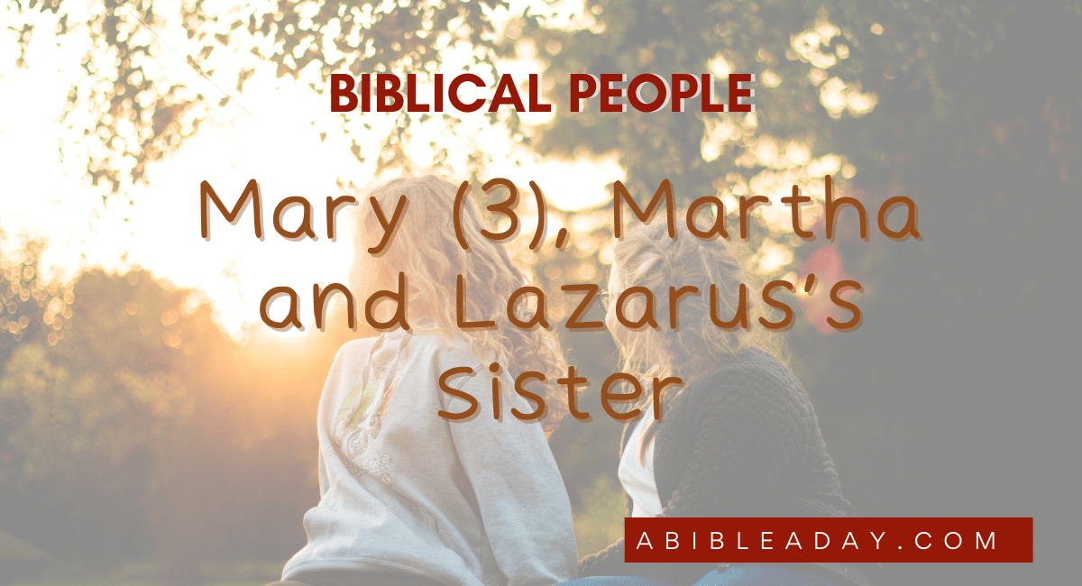 Mary Martha and Lazarus's Sister