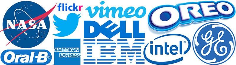 Logos com azul nasa, flickr, vimeo, oreo, dell, intel, ge, oral-b, american express, ibm.