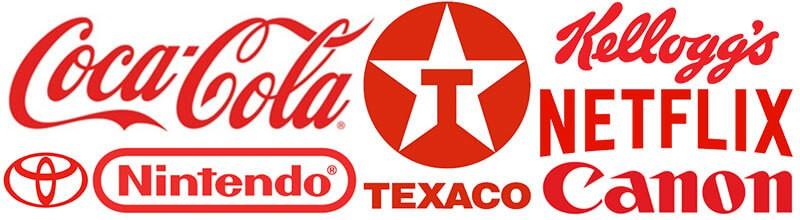 Logos com vermelho coca cola, texaco, kellogs, netflix, canon, nintendo, toyota.