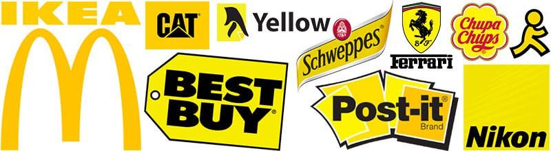 Logos com a cor amarela ikea, mc donalds, best buy, caterpillar, yellow pages, schweppes, ferrari, chupa chups, post-it, nikon.