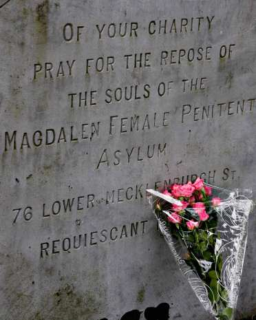 Flowers in front of the Magdalene memorial in Glasnevin Cemetary