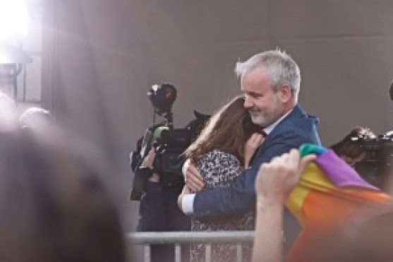 Una Mullally is hugged by Colm O'Gorman photo by Michael Stamp