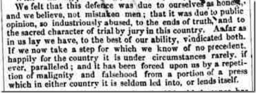 Saunders Newsletter January 10 1853 Letter from Mr Dennis, foreman of the jury copyright the British Newspaper Archive