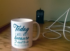 """Today I will write because I want to be Maggie Stiefvater."" Why yes, that is a TARDIS USB hub in the background."