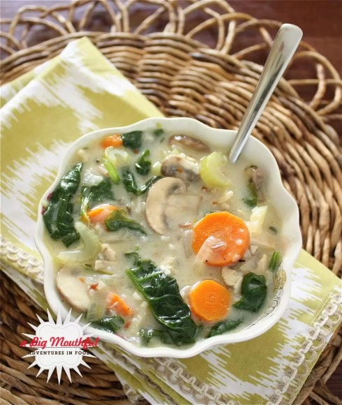A Big Mouthful : Chicken, Mushroom And Wild Rice Soup With