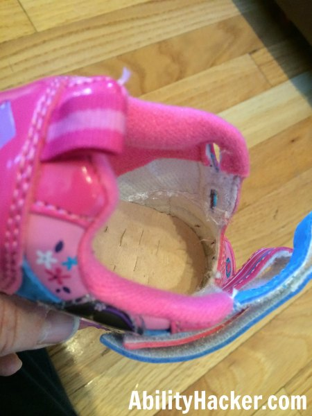 Hacking cute shoes for over AFOs - after tongue removed from shoe