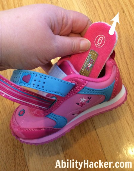 Hacking cute shoes for over AFOs - Remove the insole